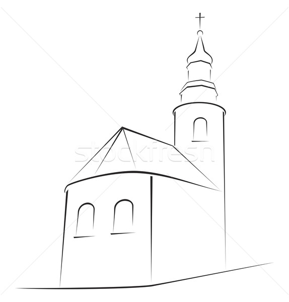 église symbole structure simple croquis bâtiment Photo stock © oxygen64
