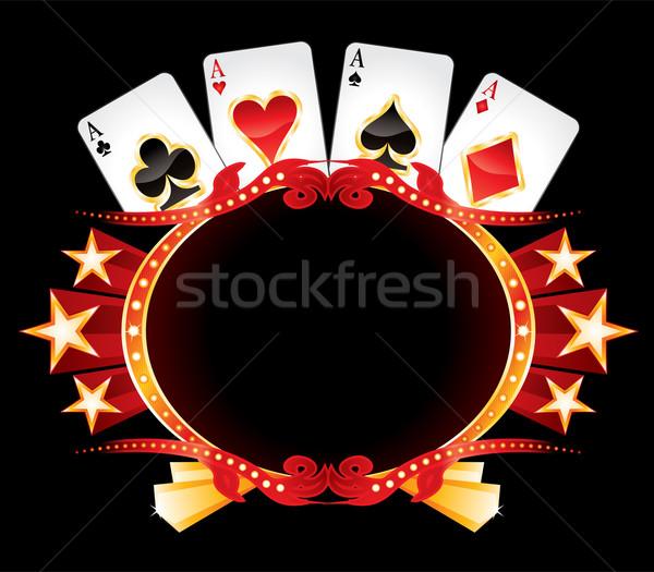Kumarhane neon kartları poker semboller bağbozumu Stok fotoğraf © oxygen64