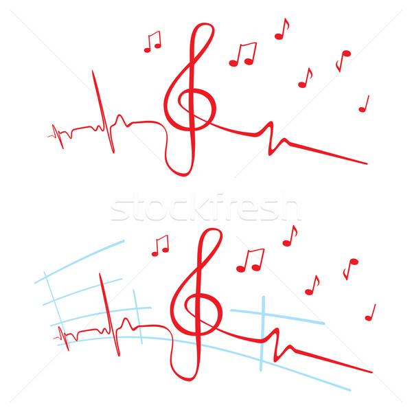 Kardiyogram müzik kalp atışı keman anahtar Stok fotoğraf © oxygen64