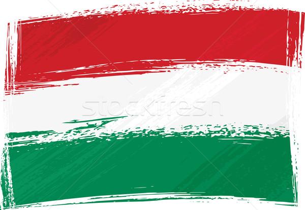 Grunge Magyarország zászló stílus graffiti fehér Stock fotó © oxygen64