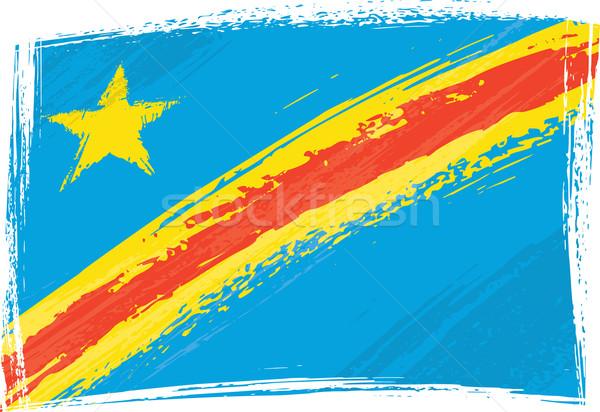 Demokratik cumhuriyet Kongo bayrak grunge stil Stok fotoğraf © oxygen64