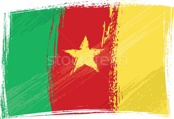 Grunge Kamerun bayrak stil yeşil kırmızı Stok fotoğraf © oxygen64