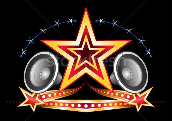 Música néon poder estrela elementos preto Foto stock © oxygen64