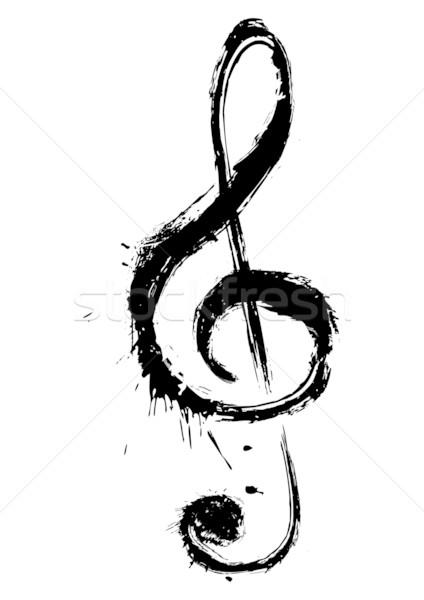 Müzik simge keman anahtar grunge stil Stok fotoğraf © oxygen64
