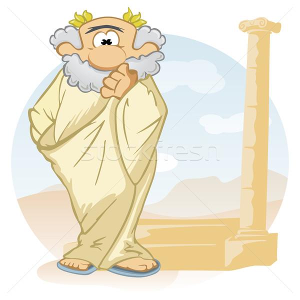 Cartoon myśliciel starych starożytnych wieniec głowie Zdjęcia stock © oxygen64