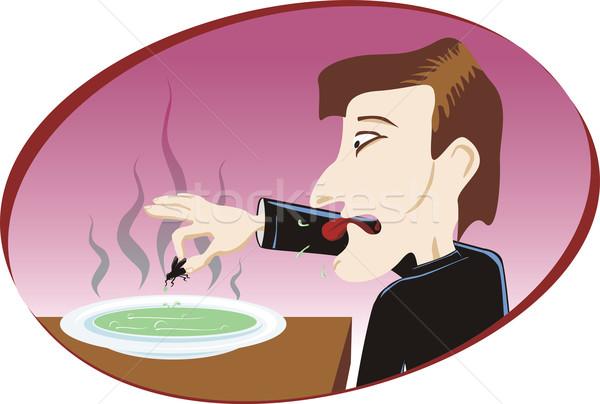 Walgelijk soep man restaurant eten vliegen Stockfoto © oxygen64