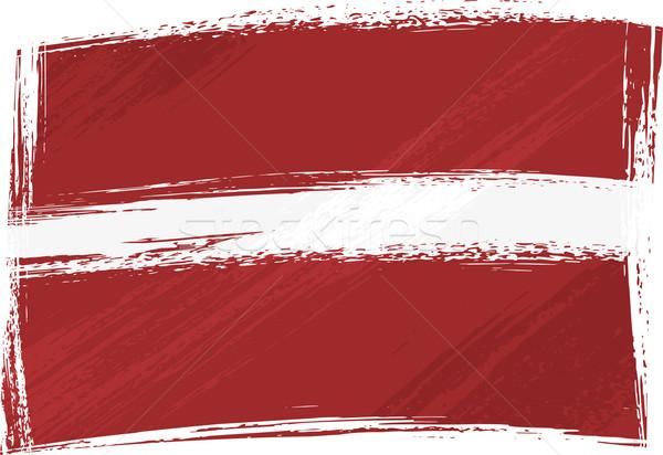 Grunge Letland vlag stijl witte Stockfoto © oxygen64
