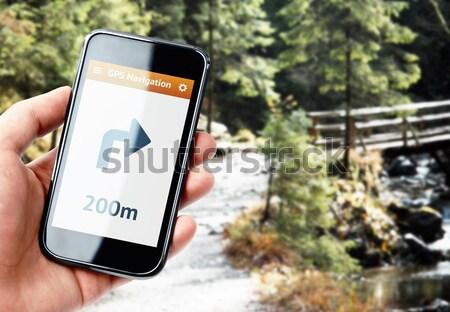 Hand smartphone gps navigatie scherm Stockfoto © pab_map