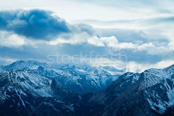 山 冬 風景 緑 晴れた 木 ストックフォト © pab_map