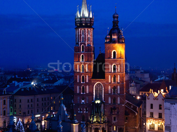 Kerk krakow nacht stedelijke lichten gothic Stockfoto © pab_map