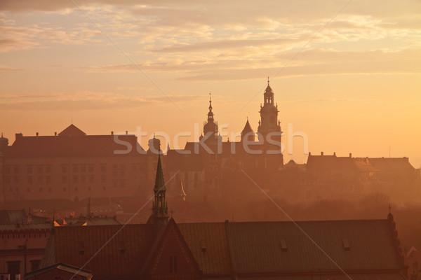 Colina castillo cracovia puesta de sol viaje urbanas Foto stock © pab_map