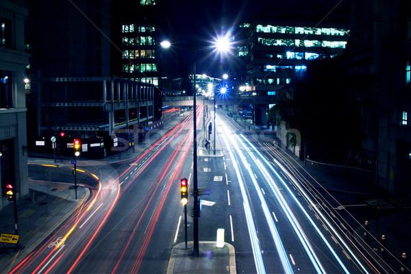 Cars lights on London street by night Stock photo © pab_map
