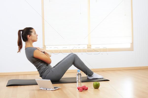 Stock photo: girl doing sport exercises