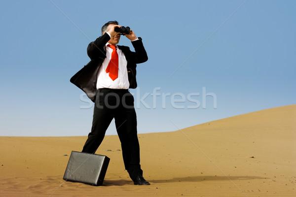 Iş adamı evrak çantası tek başına çöl gökyüzü kum Stok fotoğraf © pablocalvog