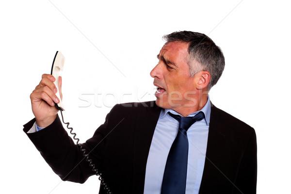 Colère exécutif hurlant téléphone portrait hispanique Photo stock © pablocalvog