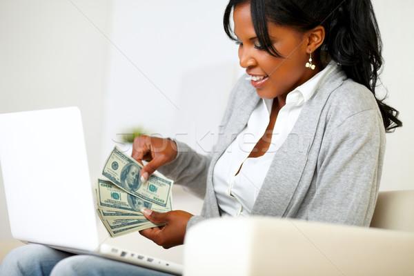 Ambitieus opgewonden vrouw dollar portret vergadering Stockfoto © pablocalvog