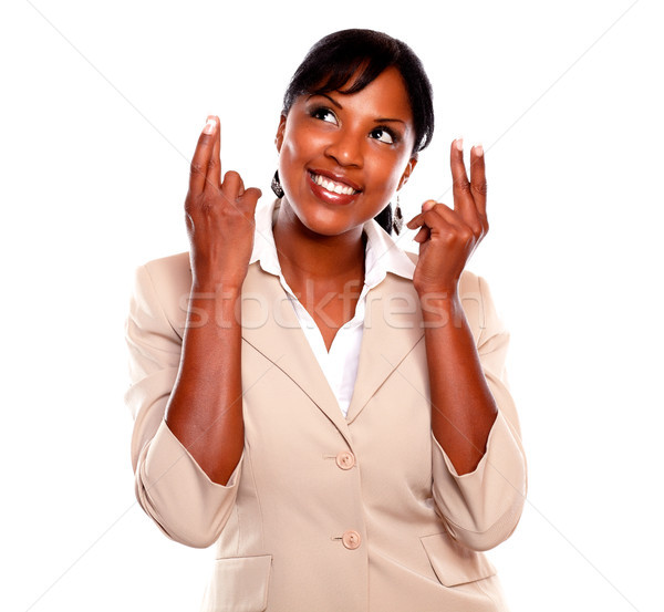 Genç işkadını parmaklar beyaz iş Stok fotoğraf © pablocalvog
