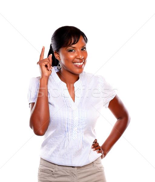 Сток-фото: этнических · молодые · женщины · указывая · вверх · глядя