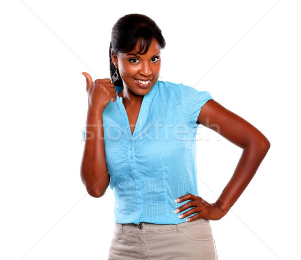 Afro-american woman with a winning attitude Stock photo © pablocalvog