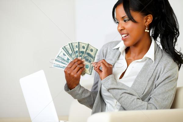 Stockfoto: Mooie · vrouw · naar · dollar · portret · zachte · kleuren