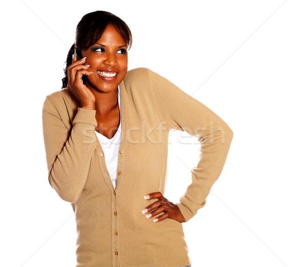 Adulto donna felice atteggiamento telefono cellulare Foto d'archivio © pablocalvog