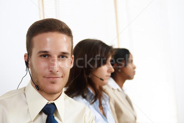 Caucasian man telemarketer Stock photo © pablocalvog