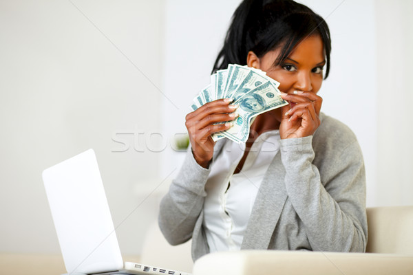 Ambitieus opgewonden zwarte vrouw geld portret vrouw Stockfoto © pablocalvog