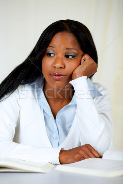 Beautiful boring black woman studying Stock photo © pablocalvog