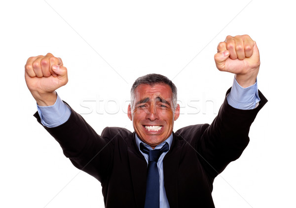 Adulto homem vitória atitude retrato isolado Foto stock © pablocalvog