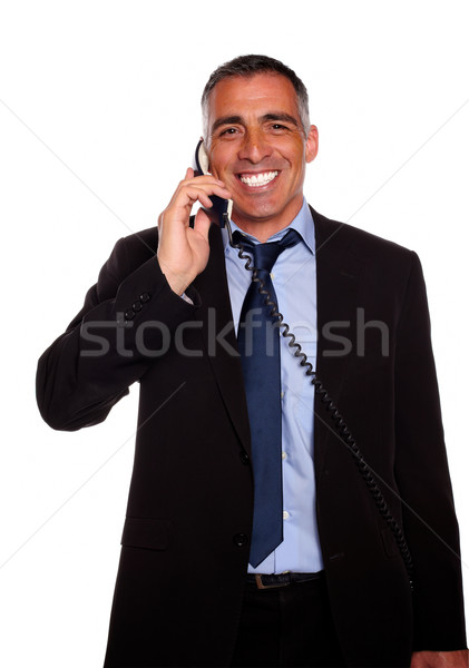 Attractive broker laughing on phone Stock photo © pablocalvog