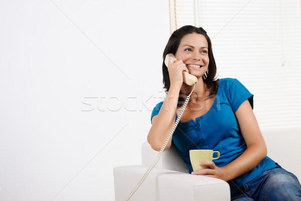 женщину говорить телефон портрет красивой Сток-фото © pablocalvog