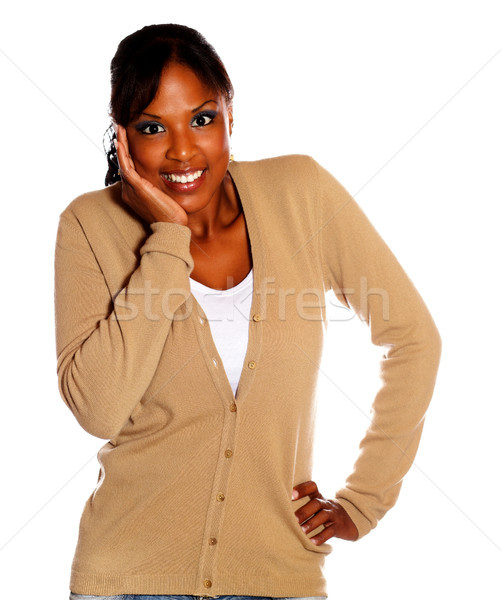 Happy friendly woman looking at you Stock photo © pablocalvog