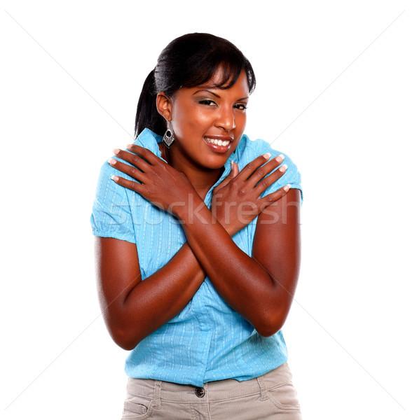 Dość uśmiechnięty młodych kobiet zimno niebieski Zdjęcia stock © pablocalvog