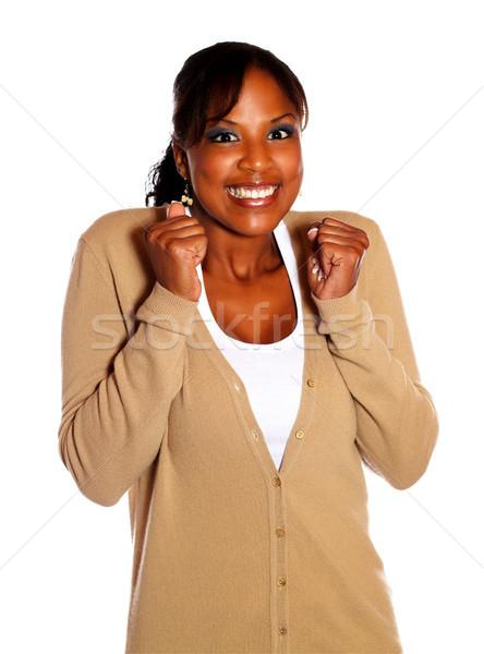 Stok fotoğraf: Yetişkin · kadın · kazanan · tutum · yalıtılmış · gülümseme