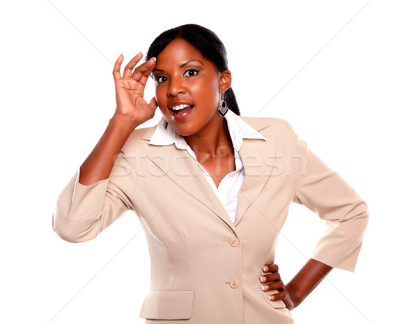 Surprised executive young woman looking at you Stock photo © pablocalvog
