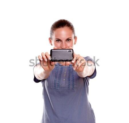 Młoda kobieta Fotografia niebieski Zdjęcia stock © pablocalvog