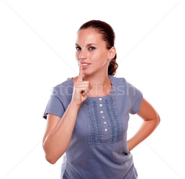 Attrattivo giovani femminile silenzio blu shirt Foto d'archivio © pablocalvog