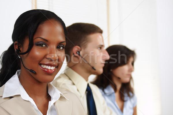 女性 電話 演算子 肖像 魅力的な 黒人女性 ストックフォト © pablocalvog