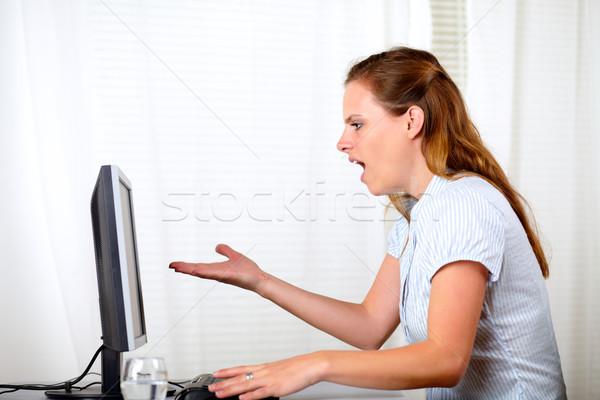 Stockfoto: Charmant · mooie · verwonderd · meisje · naar · computer