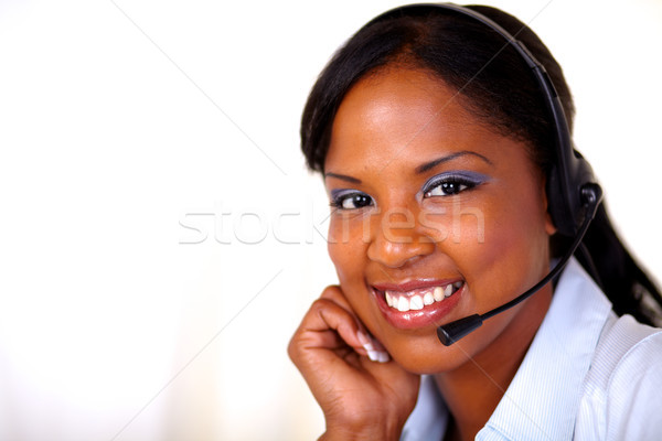 Lovely operator looking at you Stock photo © pablocalvog