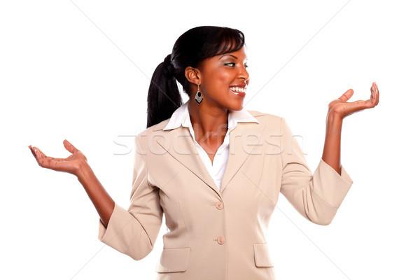 Stockfoto: Charmant · zakenvrouw · armen · omhoog · naar · meisje