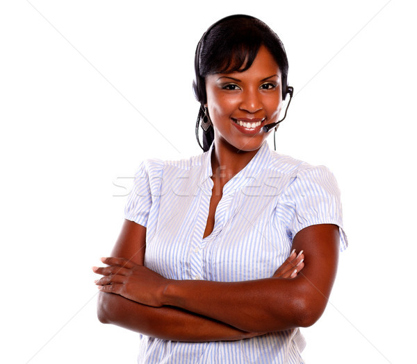 Charming call center employee smiling at you Stock photo © pablocalvog