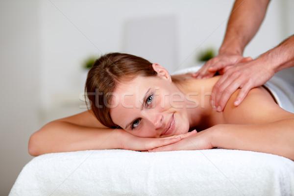 Młodych relaks spa portret masażu Zdjęcia stock © pablocalvog