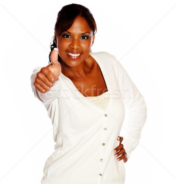 Jonge zwarte vrouwelijke naar gezegde groot Stockfoto © pablocalvog