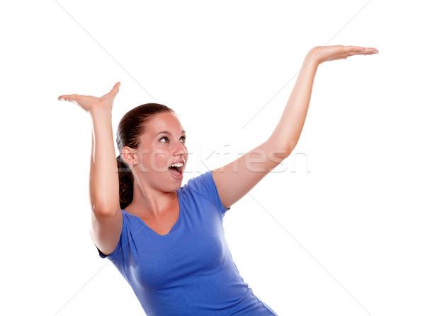 Dość młoda kobieta krzyczeć kopia przestrzeń biały Zdjęcia stock © pablocalvog