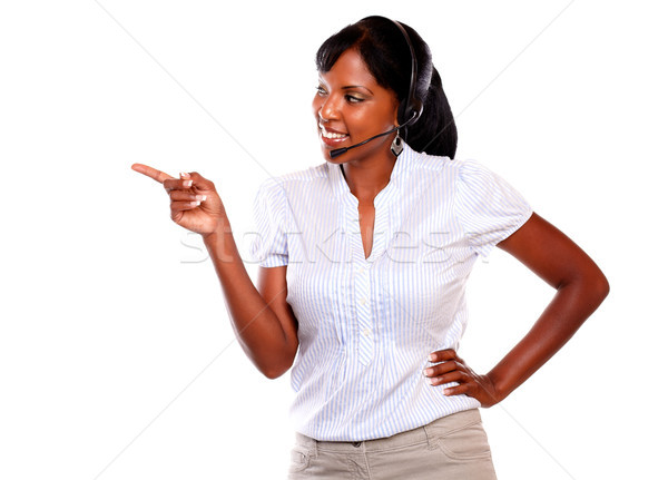 Sekreter telefon operatör işaret bakıyor Stok fotoğraf © pablocalvog