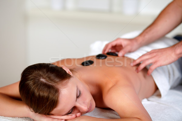 Stock photo: Young woman relaxing at a day spa