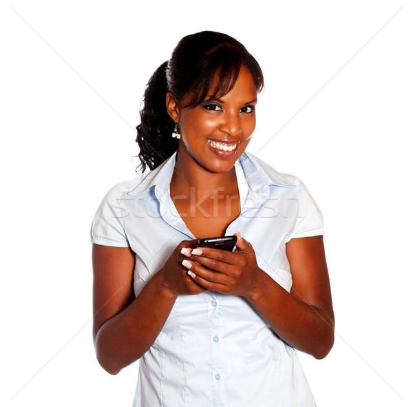 Homme isolé sourire réseau mobiles Photo stock © pablocalvog