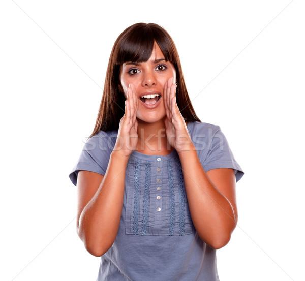 魅力的な 若い女性 悲鳴 青 シャツ 白 ストックフォト © pablocalvog