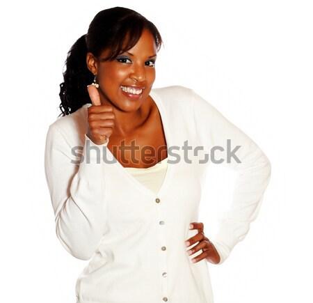 Fiatal afroamerikai nő néz közmondás nagyszerű állás Stock fotó © pablocalvog